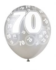 70th Birthday Black Glitz Latex Balloons 12 inch